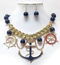 Chunky Pendant Blue Beaded Necklace Set Anchor Nautical Ship Wheel