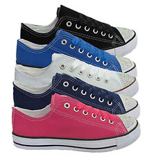 Womens Shoes Girls Ladies Flat Diamante Canvas Pumps Lace Up  Trainers Size 3-8