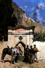 ARABS WATERING THEIR HORSES BY A WELL PAINTING BY ALBERTO PASINI REPRO