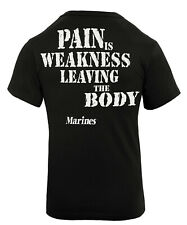 USMC T-shirt Black Marines Pain is Weakness 2 sided Marine Corps Rothco 60417