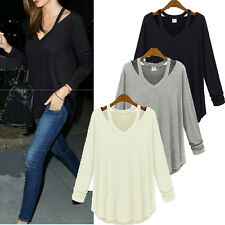 Oversized Women Solid Cotton V Neck Long Sleeve Shirt Loose Shirt Tee Top Blouse