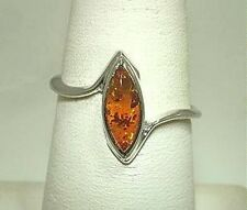 5.5MM STERLING SILVER GENUINE BALTIC SEA MARQUISE CABOCHON HONEY AMBER GEM RING