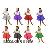 KIDS ROCK N ROLL SKIRT SET FANCY DRESS COSTUME DANCE 1950S POLKA DOT OUTFIT