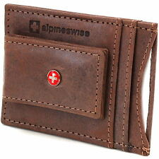 Leather Money Clip Magnet Slim Thin Front Pocket Wallet Alpine Swiss ID & Cards