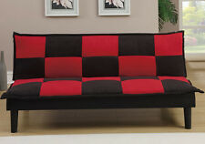 NEW LUDSON BLACK RED MICROFIBER OR WHITE BLACK BYCAST LEATHER FUTON SOFA BED
