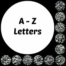 100 Pcs Silver Acrylic Single Letter Coin Beads A - Z Disc Alphabet Bead 7mm ML