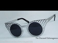 Quirky Exotic Rabbit Cage & Chicken Wire Style Round Lens Metal Cat Eye Glasses