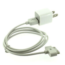 Genuine OEM Apple 5W Wall Cube Plug Charger and 30-Pin USB Data Sync Cable Set