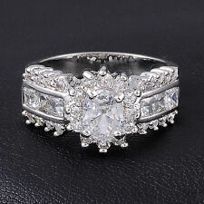 Royal Jewelry Women's 10KT Gold Filled White Sapphire Wedding Ring Size 7-11