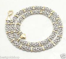 Status Byzantine Chain Necklace Lobster Clasp Real 14K Yellow White Gold