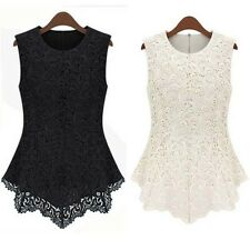 S-XXXL Women Lace Floral Blouse Sleeveless Peplum shirt Doll Chiffon Tops Vest
