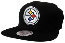 Pittsburgh Steelers NFL Mitchell & Ness Black Logo Adjustable Snapback Hat