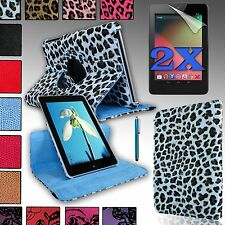 Rotating PU Leather Case Cover Stand For Google NEXUS 7 (ASUS) 1st Gen + Bundle