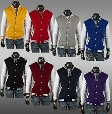 Fashion Classic Unisex Mens Slim Fit College Varsity Baseball Jacket 8 Color QUK