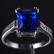 Sizs 6-9 Jewelry Lady's Blue Tanzanite Solitaire 10KT White Gold Filled Ring