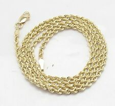 2mm Solid Sparkle Glitter Diamond Cut Rope Chain Necklace Real 10K Yellow Gold