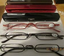 4 pair Thin Slim Light READING GLASSES  quality readers with cases Mens Womens