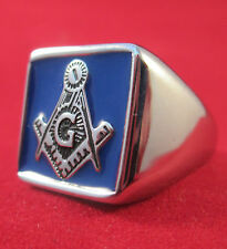 Men's Masonic Ring Stainless Steel Square Blue Front  Multiple Sizes Free Masons