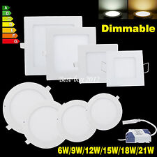 Dimmable 6W 9W 12W 15W 18W 21W LED Recessed Ceiling Panel Spot light Lamp Lot BB