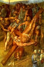 THE CRUCIFIXION OF SAINT PETER RELIGION ITALIAN PAINTING BY MICHELANGELO REPRO