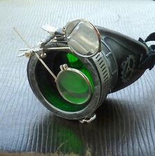 Steampunk goggles monocle eyepatch costume biker green lens cyber gothic silver