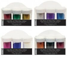 3 x Large Pots Dovecraft Ultra Fine Craft Glitter in Coordinating Colours