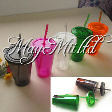 Smooth Iced Coffee Juice Plastic Drinks Cup With Straw Party Liquid Beaker Lid Y