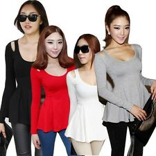 Women New Solid Peplum Frill Long Sleeve Slim Tops Sexy Casual Blouse Shirts