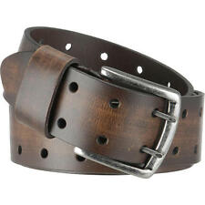 Wilsons Leather Brushed Metal Buckle Double Perforated Leather Belt