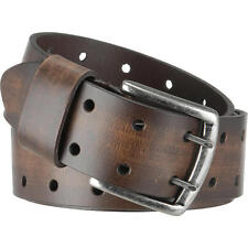 Wilsons Leather Mens Brushed Metal Buckle Double Perforated Leather Belt
