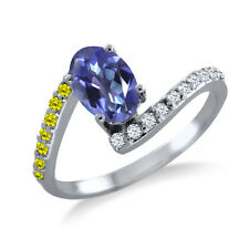 1.19 Ct Oval Purple Blue Mystic Topaz Canary Diamond 925 Sterling Silver Ring