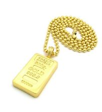 """NEW CREDIT BANQUE GOLD BAR MICRO PENDANT &3mm/27"""" BALL CHAIN NECKLACE - MMP32"""