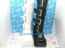 Japan lolita shoes / lolita gothic punk 4 buckle black boots euro 34 to 43
