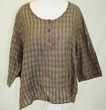 New Flax Traveller Plus Size Vicuna Basket Plaid Linen Rodeo Tee Blouse 1G 2G