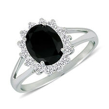 Black and White CZ Cubic Zirconia 9x7mm Oval Halo Ring (Size 6 - 8)