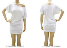 C3 WHITE RUCHED OFF the shoulder DRESS Short Sleeve Jersey Tunic Top Band S M L