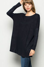 C2 BLACK BOXY TOP Off the Shoulder Loose Shirt Tunic Long Sleeve Oversize S M L