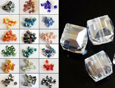 10pcs 8mm Faceted Square Cube Cut Glass Crystal Charm Finding Loose Spacer Beads