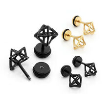 16g Hollowed-Out Angle Solid Stainless Steel Ear Stud Earrings Body Piercing x2