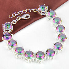 50% OFF 2014 NEW Arrival Fashion Rainbow Mystical Topaz Gems Silver Bracelet