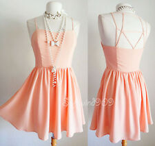 NEW Forever 21 Peach Light Coral Caged Cutout Fit & Flare CUTE Full Skater Dress