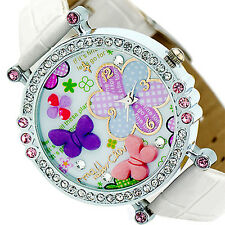 Womens Girls Exquisite Polymer Clay Crystal Leather Quartz Dial Wrist Watch B87U