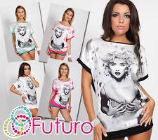 ♥ Exclusive T-Shirt Marylin Monroe Motive ♥ Batwing Sleeves Crew Neck Tunic FC99