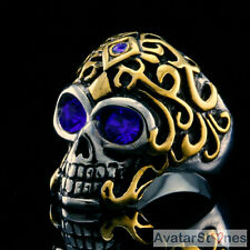Men's Rocker Cowboy Biker Cool Bling 316L Stainless Steel Skull Ring R1V87C