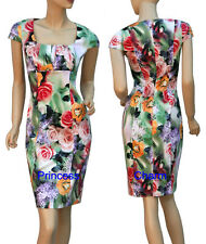 Floral Print Cotton Pencil Dress Green Pink Purple Yellow Cap Sleeve SZ 8 10 16