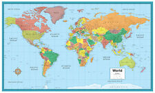 RMC World M-Series Large Wall Map Mural Poster on CANVAS