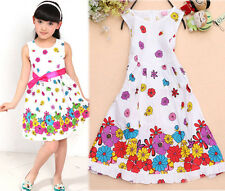 Baby Girls Kids Summer One-pieces Flower Dress Skirt Floral Dress Clothes 3-9Y