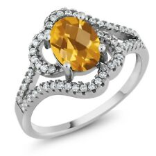 1.92 Ct Oval Checkerboard Yellow Citrine 925 Sterling Silver Ring