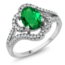 1.82 Ct Oval Green Simulated Emerald 925 Sterling Silver Ring