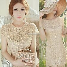 Luxury Womens Lace Crochet Pearls Beads Evening Party Mini Dress Bridesmaid Gown